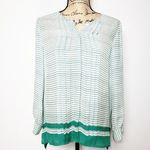 Joie button down silk blouse green stripes small